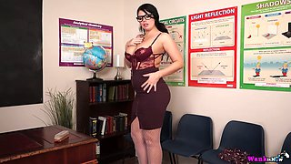 British secretary Kylie K shows striptease in the office