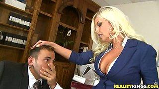 Busty Blonde Office Slut Britney Amber Voodoo Gets Fucked and Jizzed