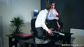 Good looking secretary dicks around with her boss