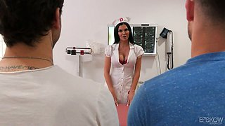 Horny busty English MILFie nurse Jasmine Jae gets fucked missionary hard