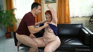 Sex-starved granny Marsha enjoys crazy quickie with young student