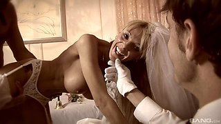 A bride cuckolds her husband on their wedding night