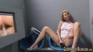 gloryhole babe sucks cock masturbation