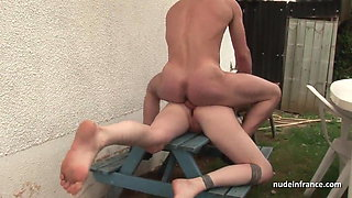 Dirty young amateur brunette ass fucked outdoor
