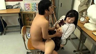 Adorable Japanese schoolgirls satisfy their desire for cock