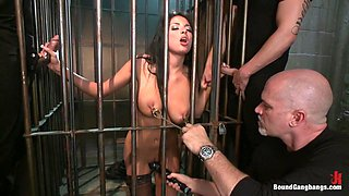 Giant Natural Boobs get Tied up Tight and Gang Banged