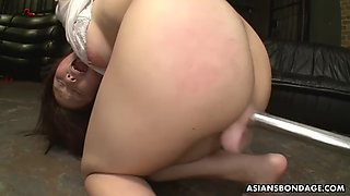 eri makino gets her pussy filled up with beer and toyed hard
