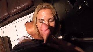 Wife enjoys a BBC through glory hole part 1