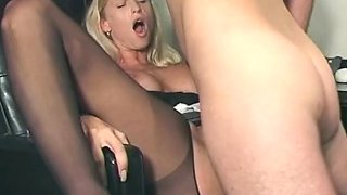 Secretary bent over her desk and fucked in the ass