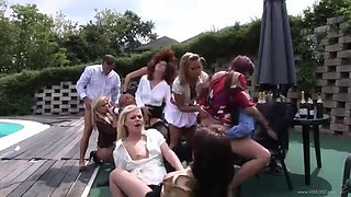 an outdoor orgy with drunk babes