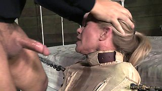 Wet blonde in a straitjacket fucked by a huge black cock