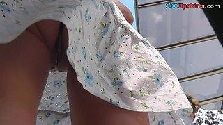 Irresistible strap panty upskirt movie scene