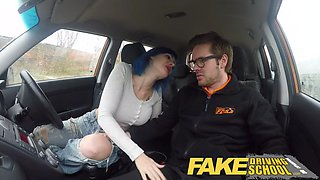 fake driving school instructor cums over learners pussy