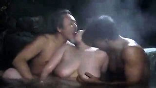 Big breasted Asian housewife having wild sex with two guys