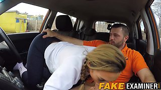 Blonde MILF pounded by driving teacher in the test vehicle