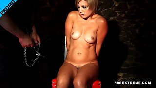 A hot chick is being tied up and abused roughly
