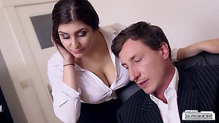 BUMS BUERO - Busty German secretary fucks boss at the office