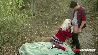 Hot tempered college chick Chloe Foster gets her anus rammed in the forest