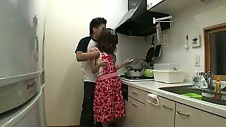 Foxy Asian housewife gets groped and then toyed in the kitc