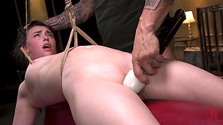 Hot body casey calvert restrained and fucked in brutal rope