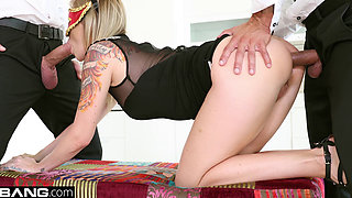 Glamkore - Angel Piaff cums hard as she is double penetrated