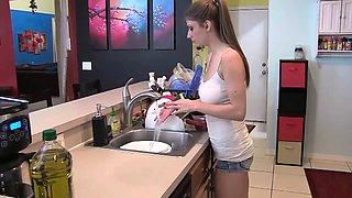 Kitchen Sister Handjob