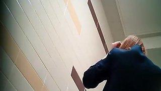 Teen pissing in public toilet