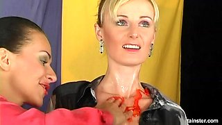 Gorgeous lesbian having her natural tits oiled seductively