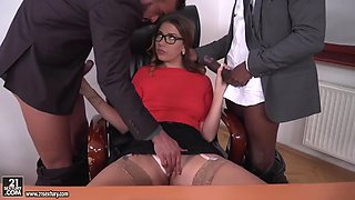 ani black fox fucks her bosses to avoid dismissal from work for masturbating
