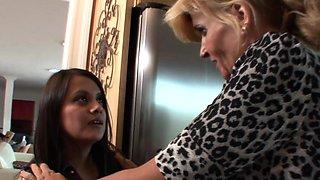 Blonde MILF  her stepdaughter seduce the maid