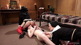 Mona Wales & Helena Locke & Charlotte Sartre in Anal Initiation: Aspiring Nun Gets Beaten & Fucked - WhippedAss