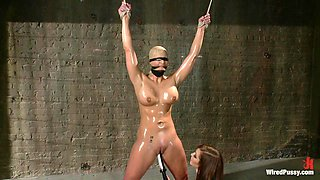 Tied up busty blonde is tied up and fucked by horny mistress Princess Donna Dolore