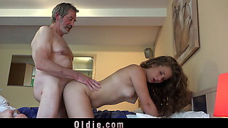 Young 19 housekeeper gets in bed with old boss