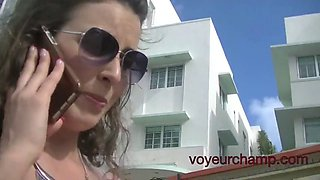 voyeurchamp.com - wife helena public upskirt pussy flashing!