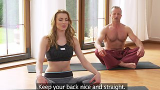 Perfect hottie ends yoga session with outstanding shagging