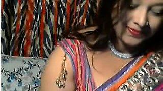 Horny Desi Aunt in front of webcam