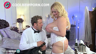 bbw blonde bride fucks