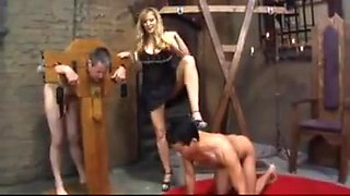 Femdom mistress humilated her two bisexual slaves