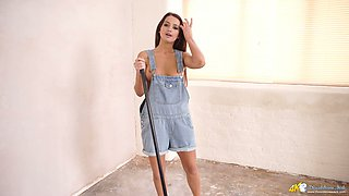 Flirty teen Layla looks fucking hot in overalls worn on bare skin