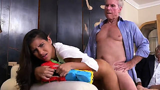 Old sexy granny and guy young girl shower first time