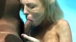 Underwater pool blowjob