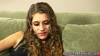 Curly haired chick gets laid with her step dad and he treats her in the end with a warm cum on her pretty face