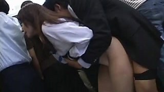 Shy Schoolgirl groped and used in public