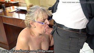 Lustygrandmas bbw gilf cleans his office and his cock!
