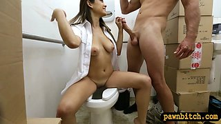 Latina stewardess drilled by pawn dude in pawnshops toilet