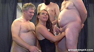 Glamour wife fucked in all holes by a lot of guys and wants more