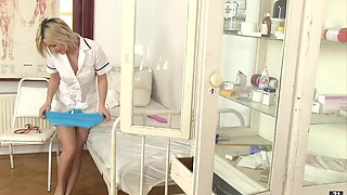 Naughty blonde is masturbating right during her shift