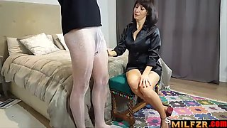 Satin blouse milf with pantyhose