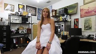 Sexy Blonde Pawns a Wedding Dress - XXX Pawn