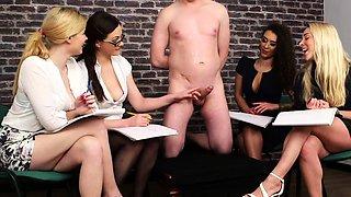Slave Pleasured by 4 Hot Sluts